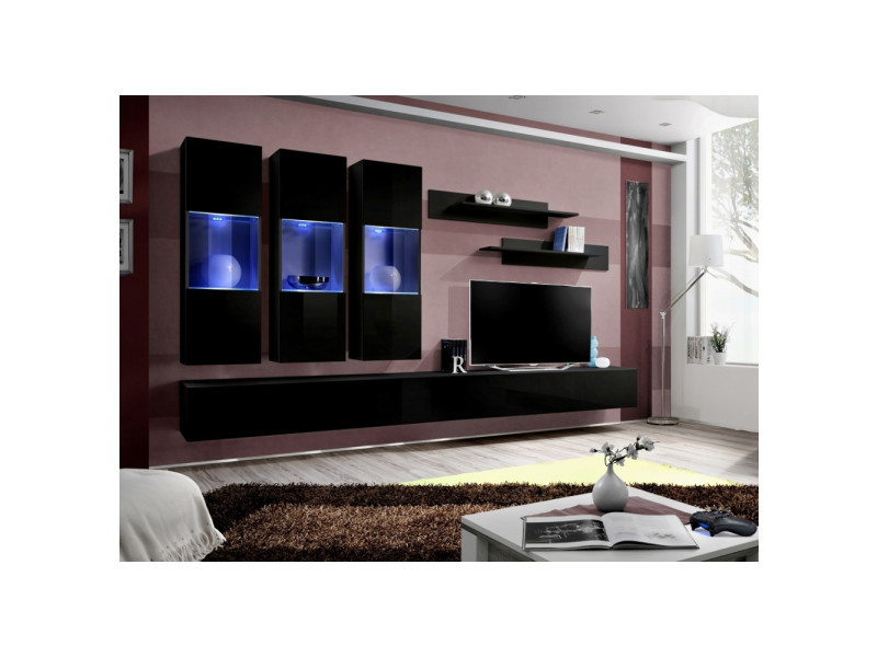 Ensemble meuble tv mural - fly ii - 320 cm x 190 cm x 40 cm - noir