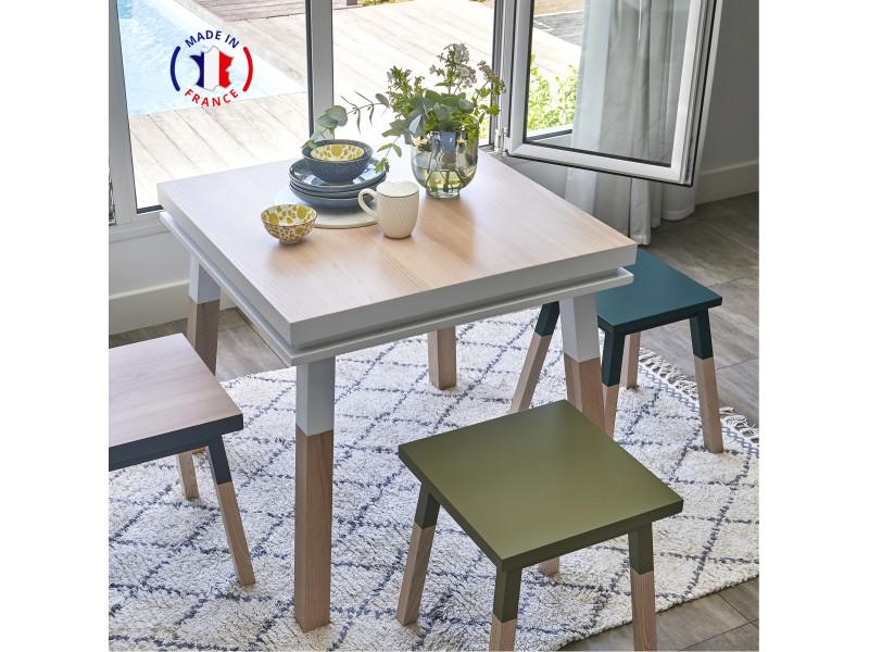 Table cuisine avec tiroir, frêne massif 100x100 cm blanc balisson - 100% fabrication française