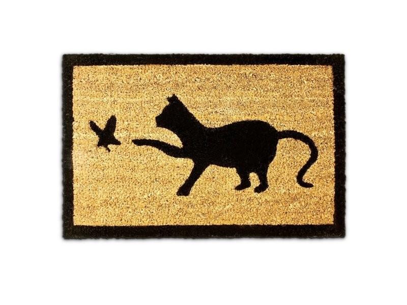 Paillasson tapis porte d'entrée essuie-pieds chat ibre de coco nature 60 x 40 cm helloshop26 2013026