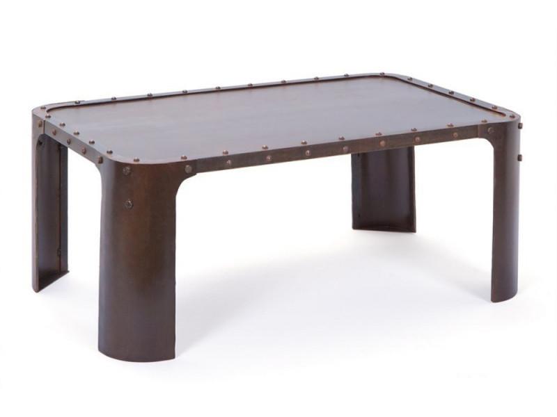 Table basse coloris rouille en métal, 110 x 70 x 45 cm -pegane-