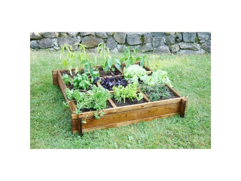 Carre potager - table potagere carré potager en sapin - 100 x 100 x h 20 cm