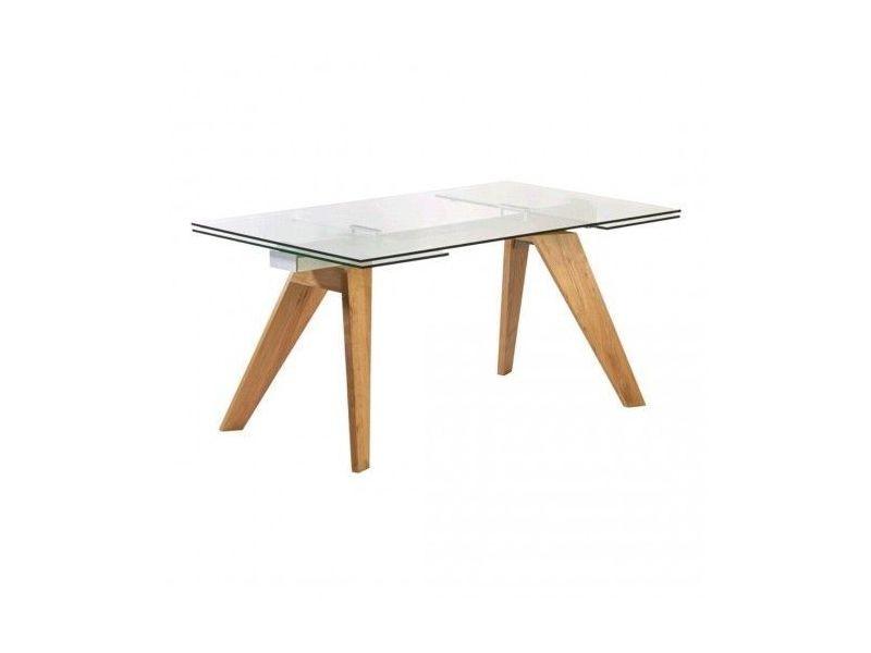 Table à rallonges verre et bois mountain 160-240 cm
