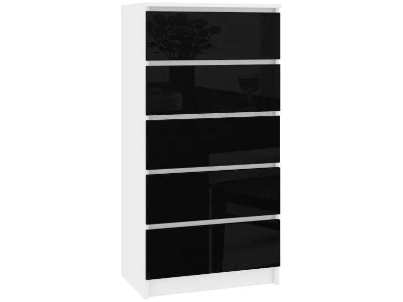 Skandi | commode contemporaine chambre + salon + bureau 121x60x40 cm | 5 tiroirs | design moderne | chiffonier semainier | blanc/noir laqué