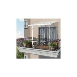 Toit de terrasse 2x2m en alu blanc et polycarbonate 6mm couv'terrasse