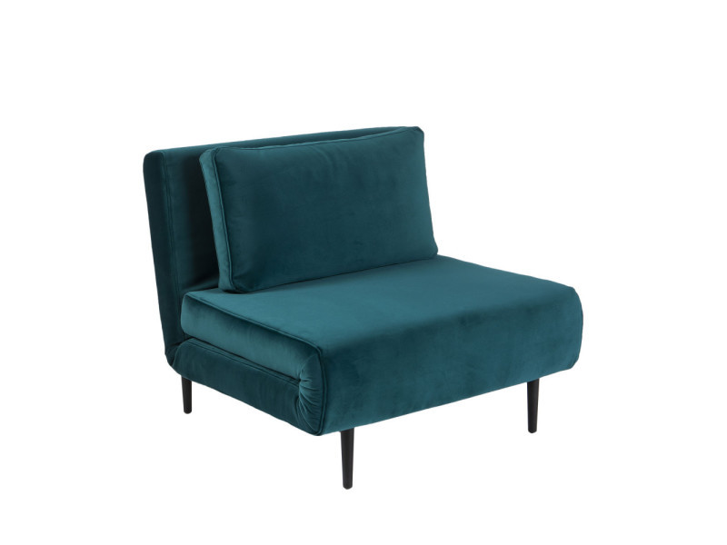 Fawsley - fauteuil convertible lit 1 place en velours - couleur - bleu canard JK080-1I-LU23