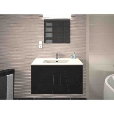 Meuble de salle de bain simple vasque 80 cm gris mat lea - Meuble vasque salle de bain conforama ...