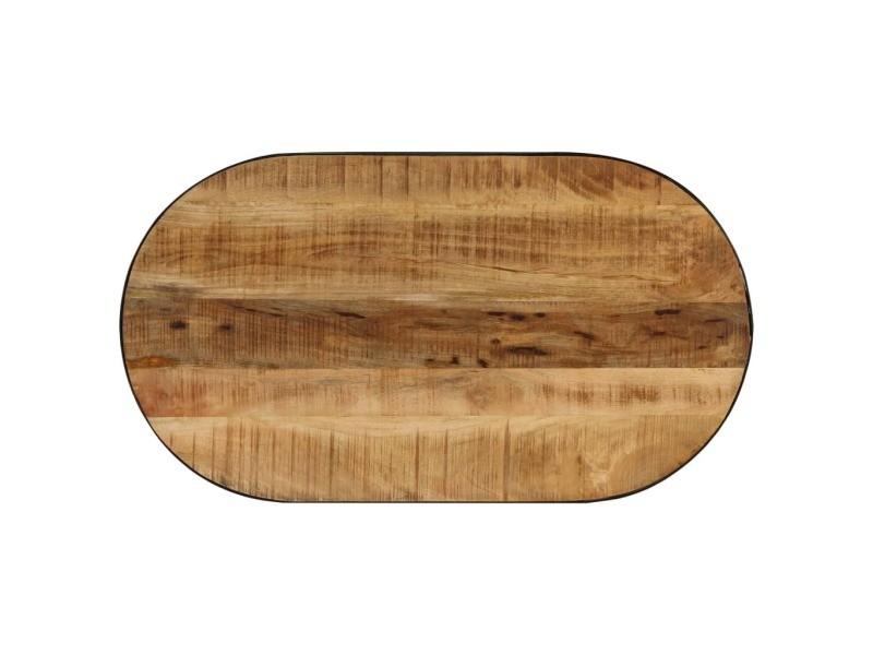 Vidaxl table basse ovale bois massif de manguier brut et acier 100 cm 246626