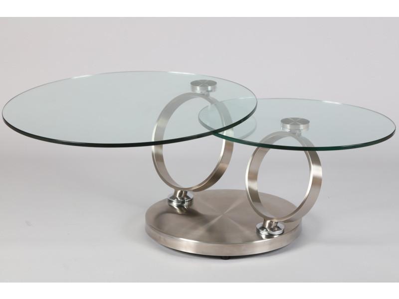Table basse en acier brossé de 2 plateaux en verre trempé (avec frein) -pegane-