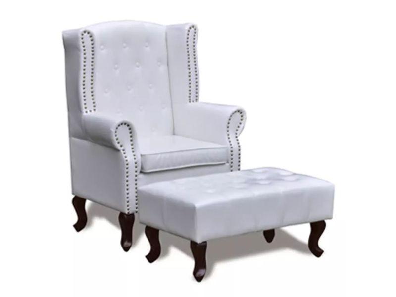 Fauteuil chaise siège lounge design club sofa salon chesterfield avec ottoman assorti blanc helloshop26 1102298