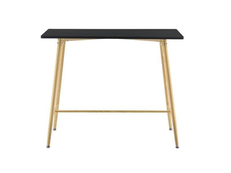 Table de bar rectangulaire pieds en métal 110 cm effet bois noir helloshop26 03_0006211