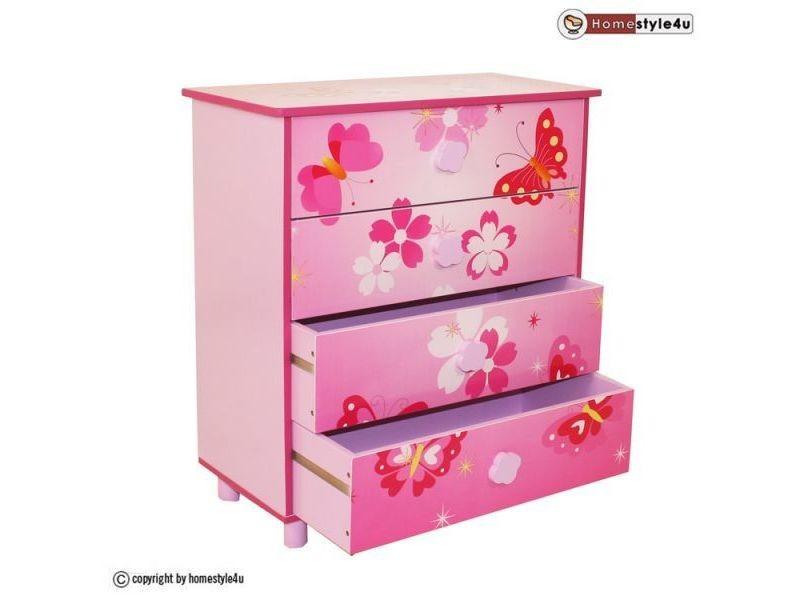 Commode enfant 4 tiroirs meubles bois papillon 647 vente for Meuble commode tiroirs