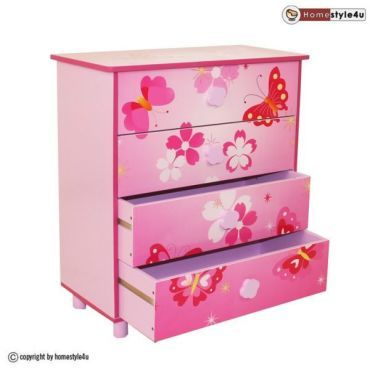 Commode enfant 4 tiroirs meubles bois papillon 647 vente de homestyle4u conforama - Commode enfant conforama ...