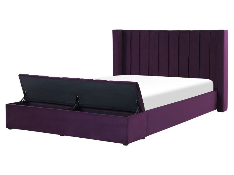 Lit double en velours violet avec banc coffre 160 x 200 cm noyers 247928