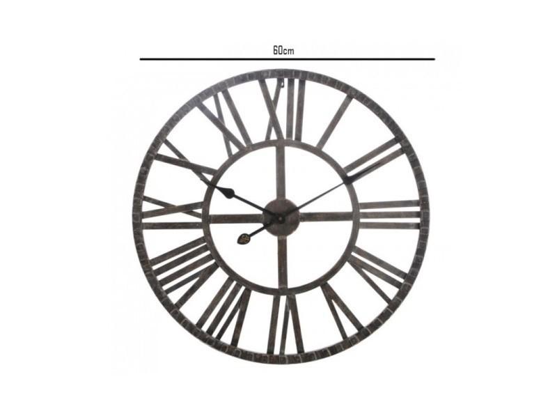 grande horloge murale ronde fer marron chiffres romains vente de wadiga conforama. Black Bedroom Furniture Sets. Home Design Ideas