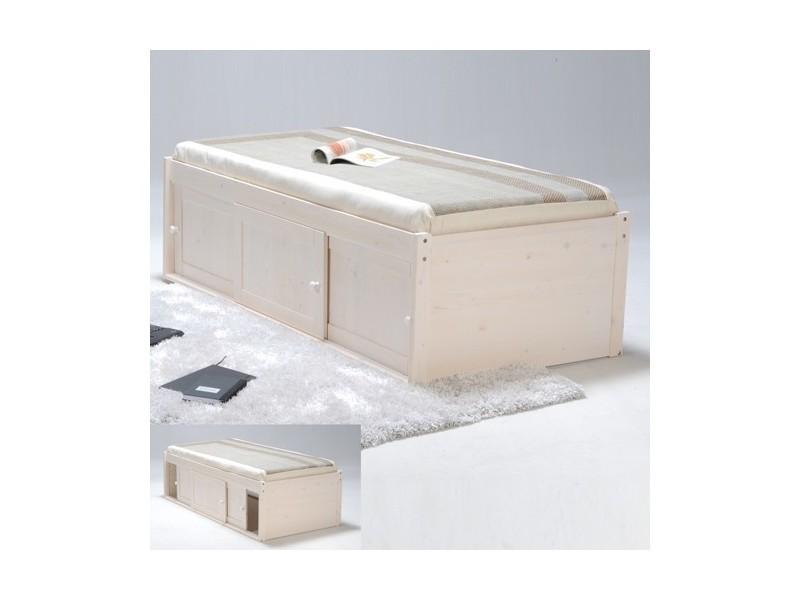 Lit estrade 90x190 + 3 portes coulissantes / blanc 226013 - Vente de ...