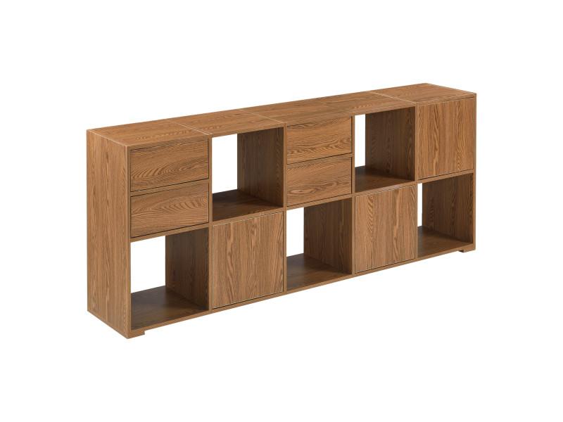 Commode design à 7 portes touche-lâche pour salon meuble de rangement stylé pour chambre espaces de stockage ouverts et fermés panneau de particules 60 x 145 x 28 cm effet bois foncé [en.casa]