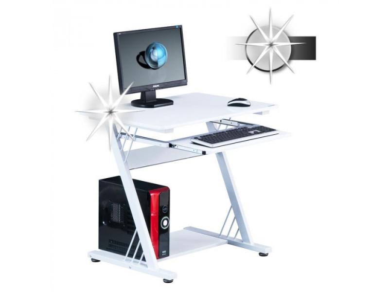 Bureau informatique firo avec tablette coulissante blanc