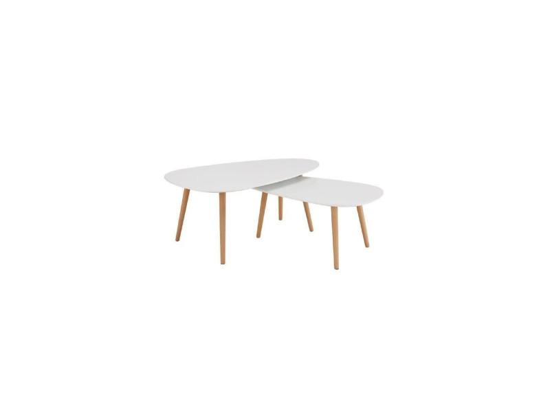 Kivi Lot De 2 Tables Basses Gigognes Scandinave Blanc Laqué Mat L