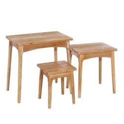 Jeu de 3 tables gigognes pin naturel - alberta - l 60 x l 40 x h 60 - neuf