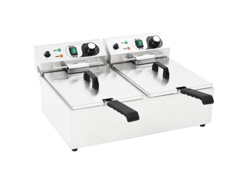 Sublime électroménager de cuisine categorie ottawa friteuse double électrique acier inoxydable 20 l 6000 w