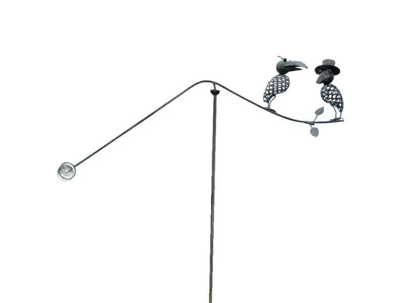 Mobile de jardin corbeaux gris à bascule balancier fer métal 138 cm x 91 cm x 10 cm