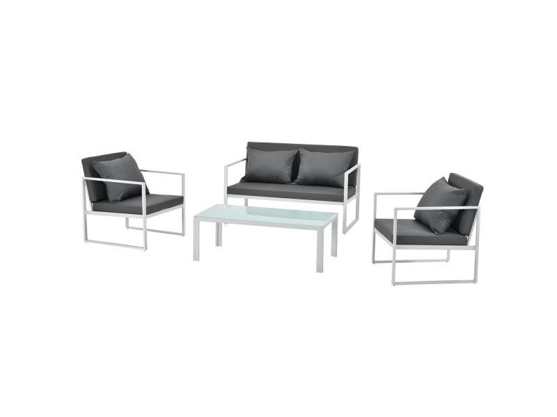 Salon de jardin ensemble de jardin table basse avec canapé et chaises extérieures métal verre polyester blanc helloshop26 03_0003586