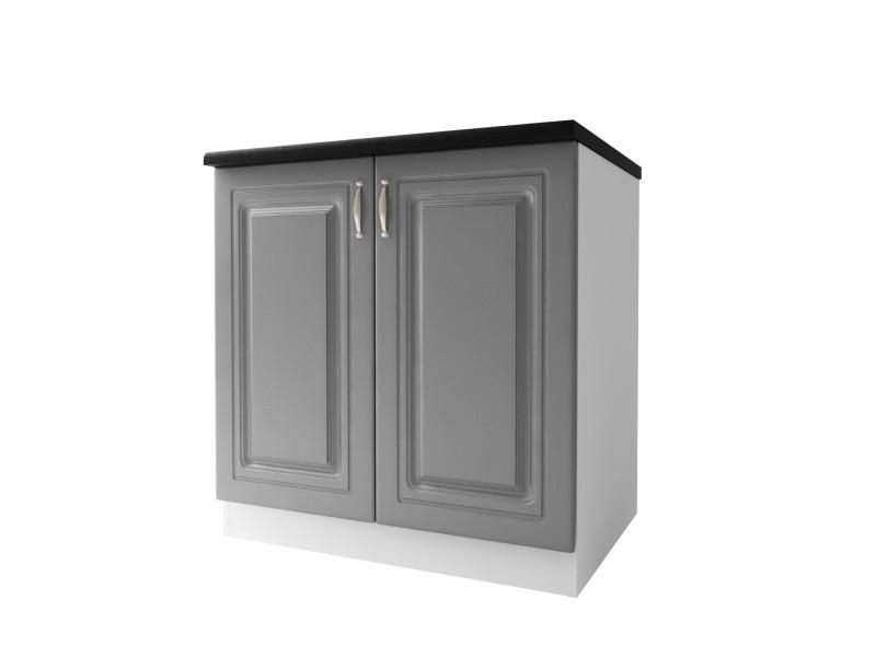 Meuble de cuisine bas 2 portes 80 cm dina mélaminé avec 1 étagère gris