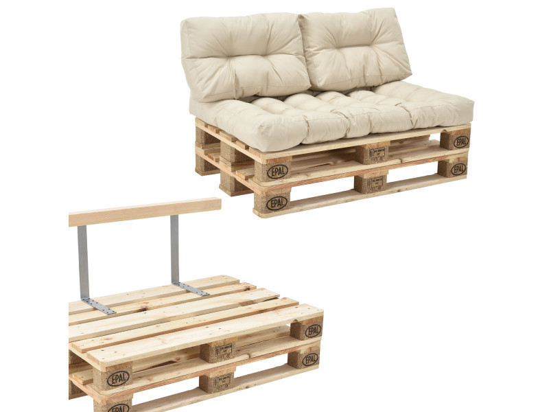 en.casa] canapé de palette euro- 2-siège avec coussins- [crème] kit ...