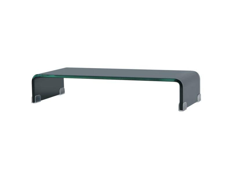 Meuble télé buffet tv télévision design pratique support pour moniteur 60 cm verre noir helloshop26 2502229