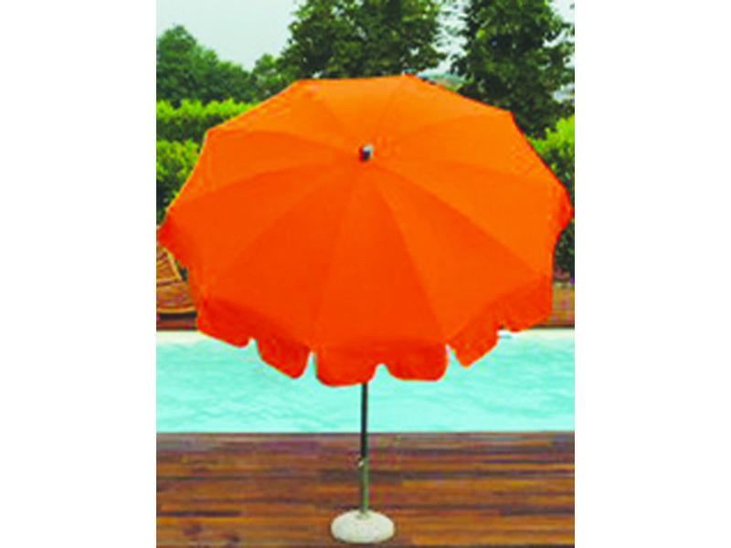 Parasol rond centré coloris orange - dim : h 230 x d 200/10 cm - pegane -