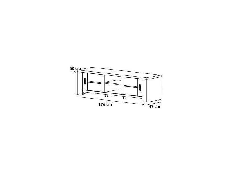 Meuble tv contemporain 176 cm avec portes et niches de - Conforama catalogue salle a manger ...