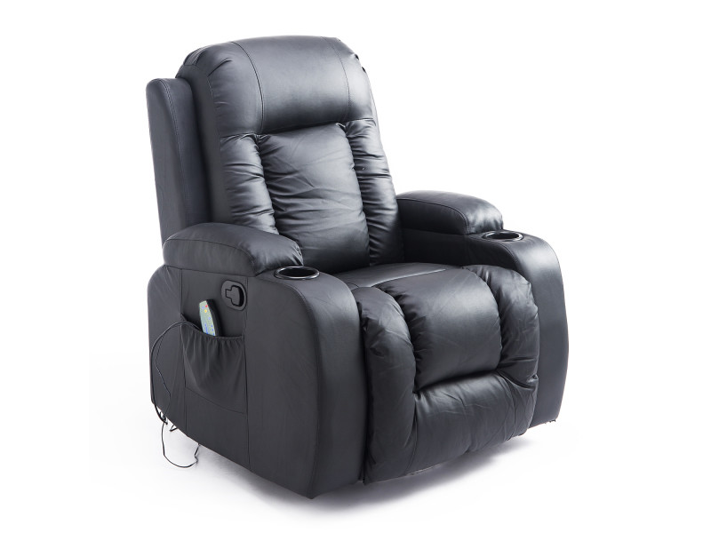 fauteuil de massage et relaxation lectrique chauffant inclinable repose pied t l commande noir. Black Bedroom Furniture Sets. Home Design Ideas