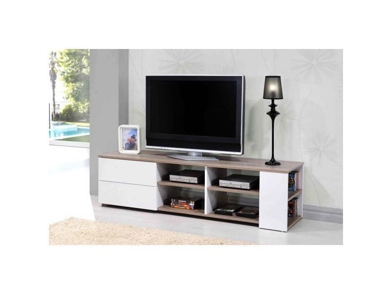 Meuble tv 150 cm primo l 150 x h 40 x p 39 cm blanc for Meuble tv blanc 150 cm
