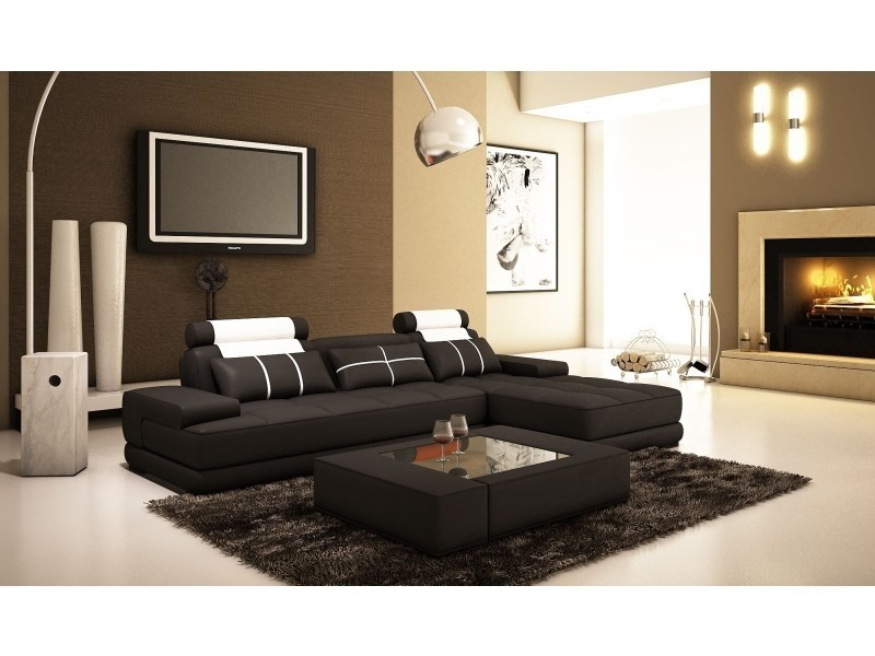 Canapé d'angle moderne cuir noir et blanc alix ii-
