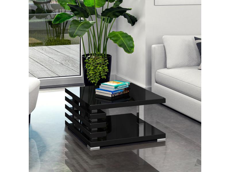 Table basse design - ariene - 60x60 cm - noir brillant