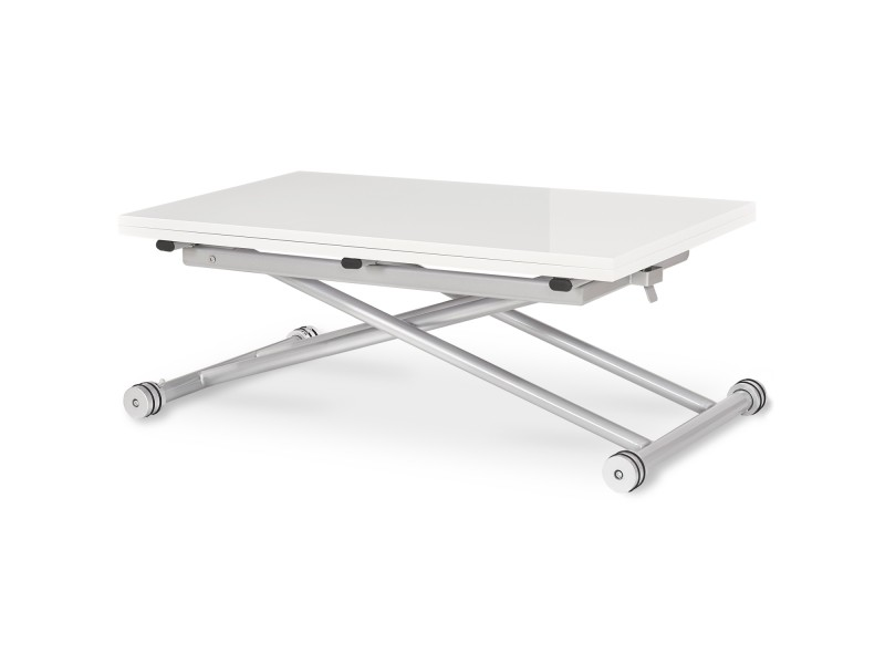 Table basse relevable philadelphia blanc laqué