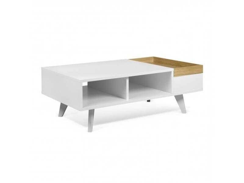 Table basse fonctionnelle ruben avec plateau amovible blanc et chêne 20100880193