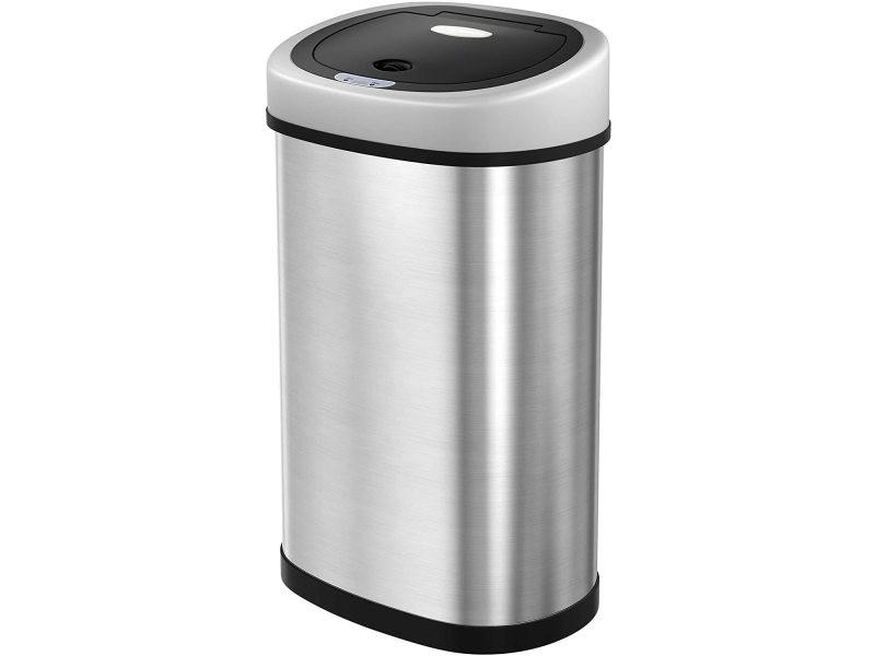 Poubelle automatique avec capteur infrarouge 50 litres gris métallisé helloshop26 12_0000923