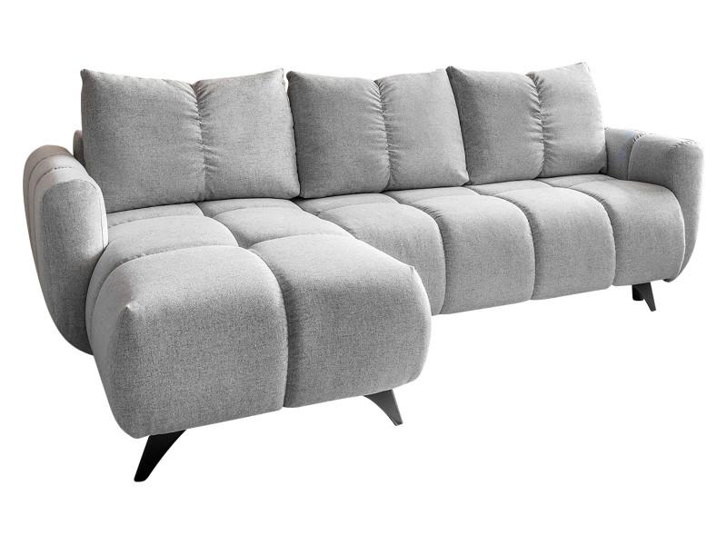 Canapé d'angle réversible convertible coffre joy gris clair