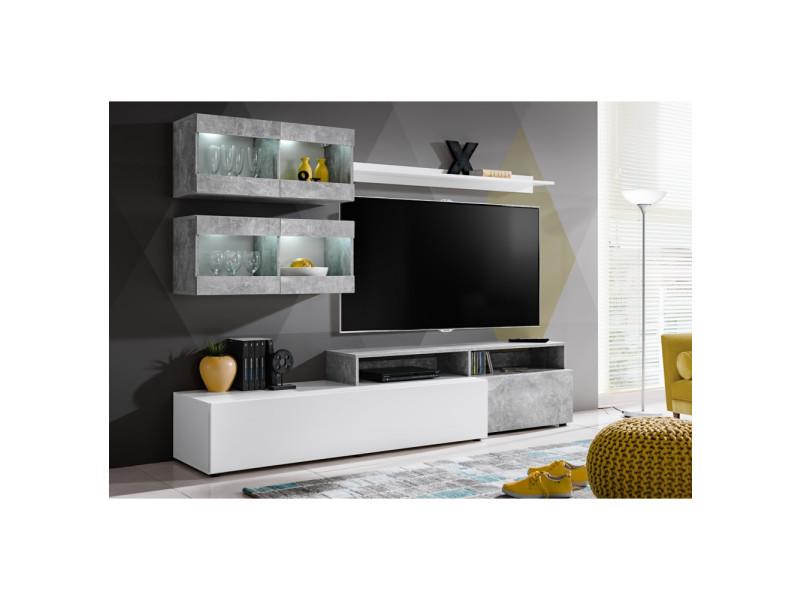 Ensemble murale meuble tv - light - 6 éléments - blanc