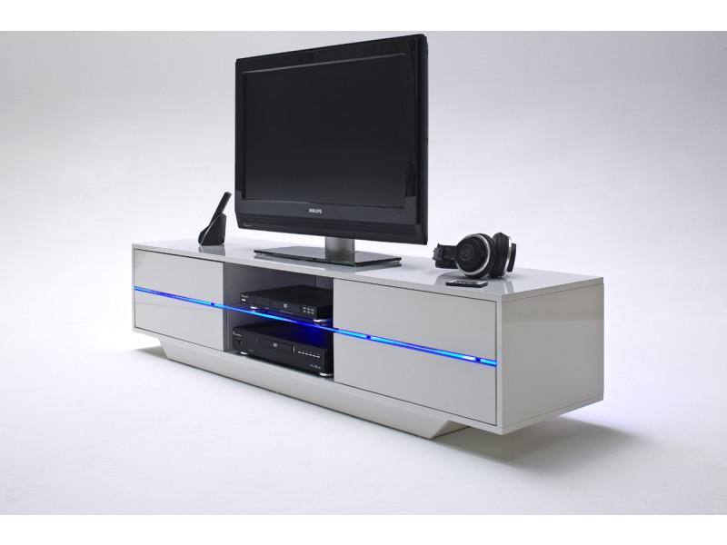 Meuble Tv Avec Led Bleu Coloris Laque Blanc Brillant L160 X H36 X P40 Cm Pegane Vente De Meuble Tv Conforama