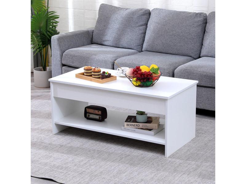 Table basse avec plateau relevable blanche hedda