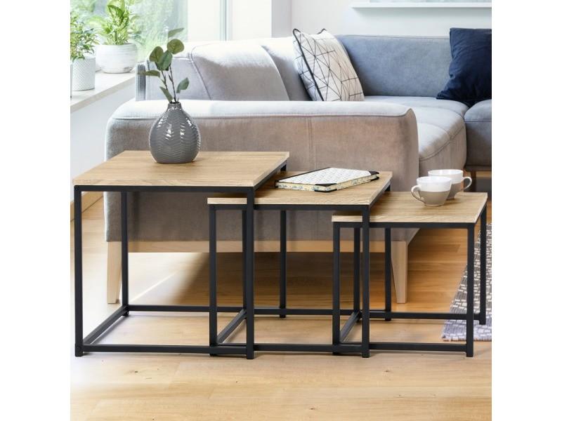 Lot de 3 tables basses gigognes detroit 35/40/45 design industriel