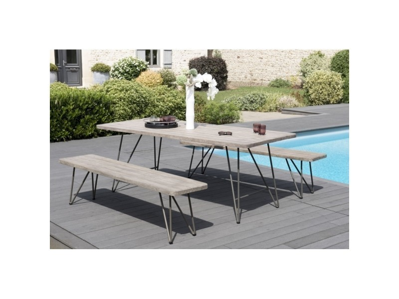 Salon de jardin en teck avec 1 table rectangulaire pied scandi et 2 ...