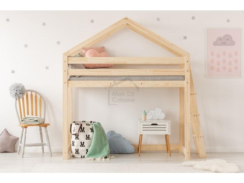 lit mezzanine gl cabane bois massif sommiers 80x190. Black Bedroom Furniture Sets. Home Design Ideas