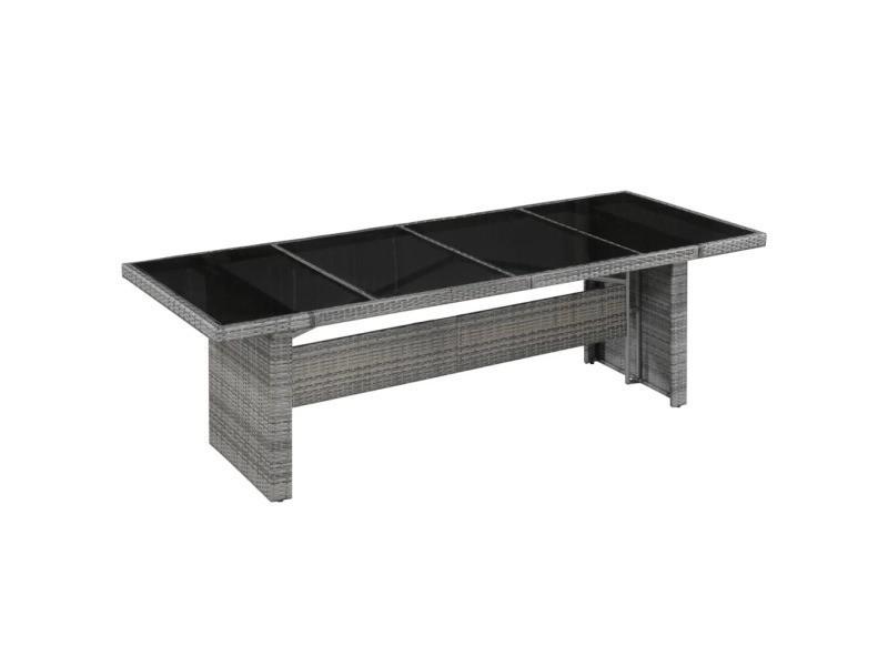 Vidaxl table à manger d'extérieur résine tressée et verre 240x90x74 cm 43941