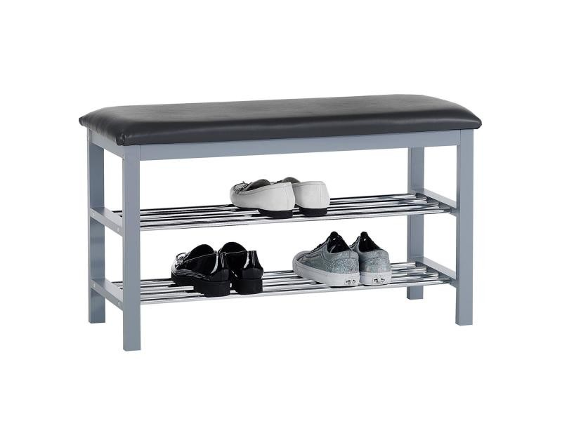 banc avec tag res chaussures sana coloris gris conforama. Black Bedroom Furniture Sets. Home Design Ideas