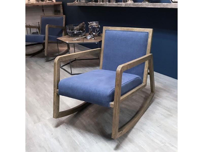 Rocking chair lin et chêne 58x85x71 cm