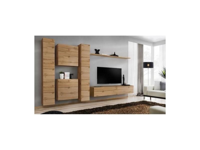Ensemble meuble salon switch vi design, coloris chêne wotan.