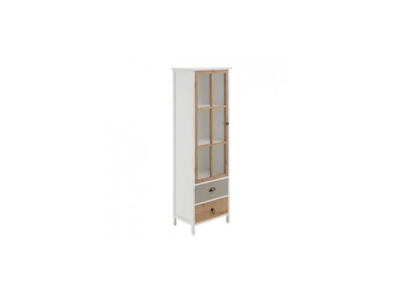 Armoire style naturel bois blanc 2 tiroirs et 1 porte vitrée 160cm pegane